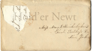 Postmark torn, addressed to Miss Mary E Knickerbocker Tivoli, Dutchess Co New York