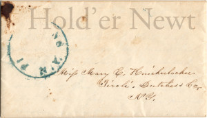 "Envelope addressed to ""Miss Mary E Knickerbocker Tivoli, Dutchess Co. NY."
