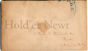 "Stamped ""...RIDGE..."" addressed to Mary E Knickerbocker, Tivoli, Dutchess Co N.Y."