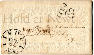 "Embossed envelope stamped ""TIVOLI N.Y. JUN"" and ""22"" written by hand inside the stamp. Also stamped ""PAID"" addressed to Miss Mary E Knickerbocker Care of Jacob C Tooker Po'keepsie N.Y."